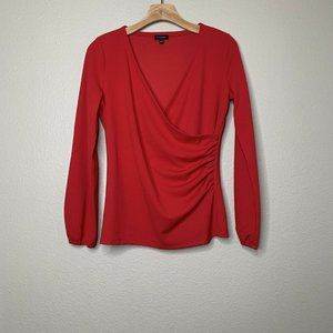 Talbots Womens Small Red Faux Wrap Top Ruched Side